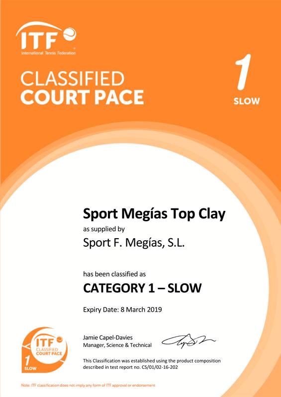 ITF ha otorgado a Sport Megias el certificado ITF Classified Court Pace Slow 1